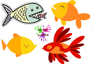Poisson d'avril - Petits poissons colorés