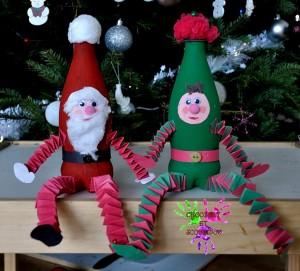 Lutin et Père Noël en bouteilles
