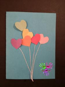 carte de vœux ballons cœurs