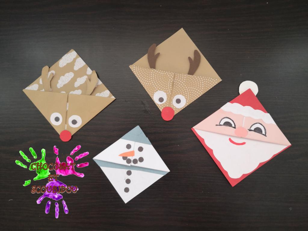 Marque-page en origami - Noël