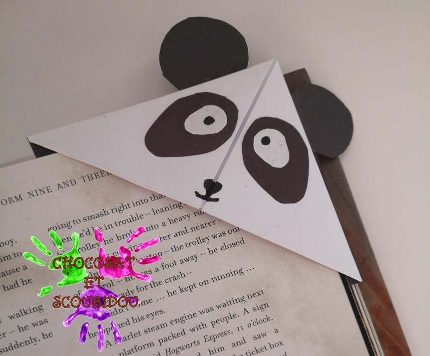Marque-page en origami - panda