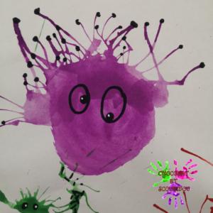 Peinture à la paille - monstre mauve