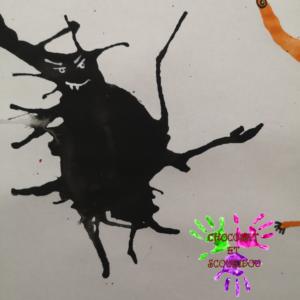 Peinture à la paille - monstre noir