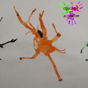 Peinture à la paille - monstre orange