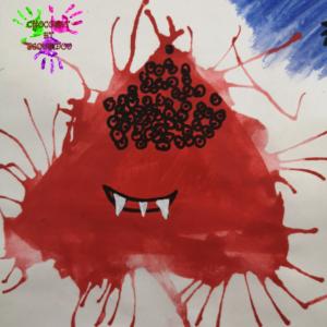 Peinture à la paille - monstre rouge