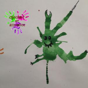 Peinture à la paille - monstre vert