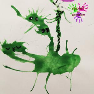 Peinture à la paille - monstres verts