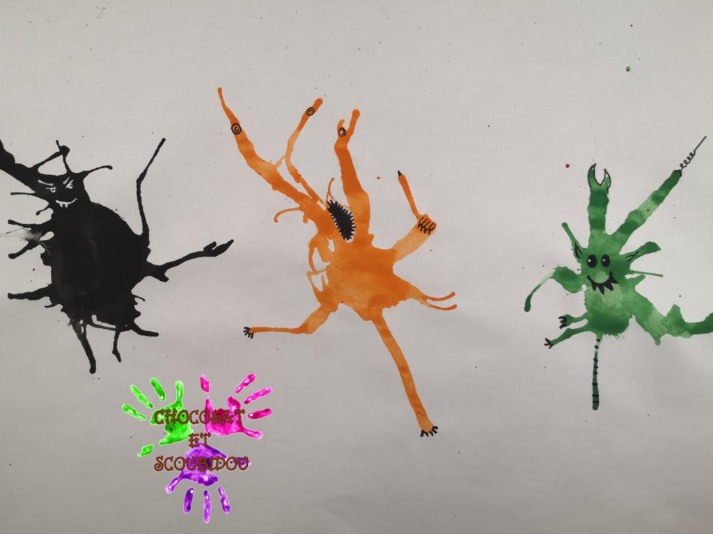Peinture à la paille - monstres rigolos